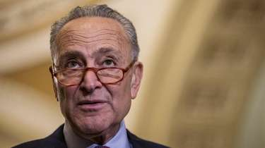 Senate Minority Leader Chuck Schumer during a news
