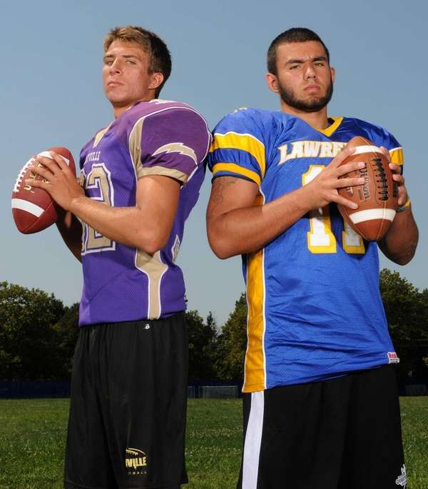Sayville High School quarterback Zack Sirico, left, and