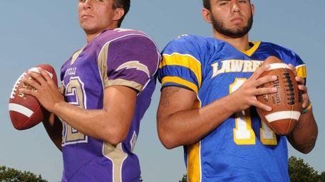 Sayville High School quarterback Zack Sirico, left, and