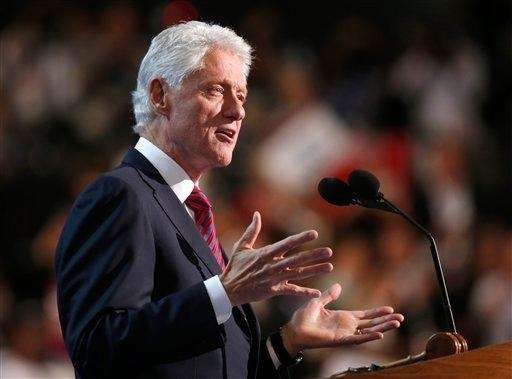 Former President Bill Clintonaddresses delegates at the Democratic