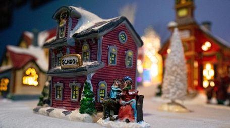 A schoolhouse in Nina Solis' Christmas village.