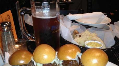 Sliders, sausages and beer at Croxley's in Smithtown.