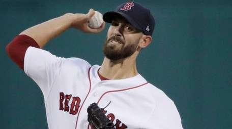 Boston Red Sox starting pitcher Rick Porcello delivers