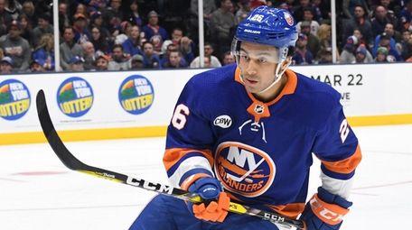 New York Islanders right wing Josh Ho-Sang skates