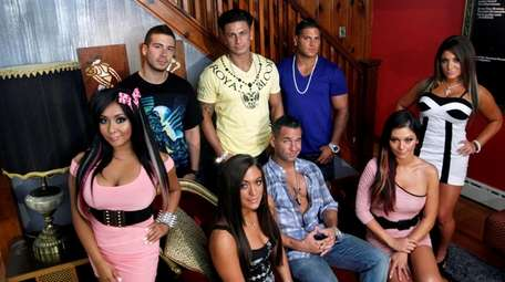 """The cast members of MTV's """"Jersey Shore"""" pose"""