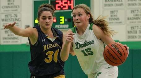 Kelly Bergersen (18 points) drives to basket past