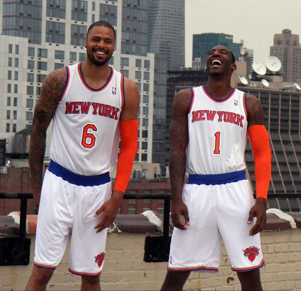 Tyson Chandler and Amare Stoudemire sport the new