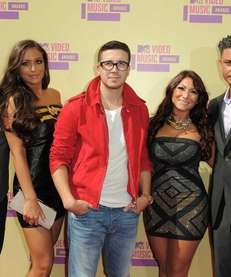 "Cast members from MTV's ""Jersey Shore,"" from left,"