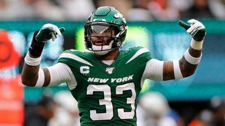 Jamal Adams #33 of the Jets reacts against
