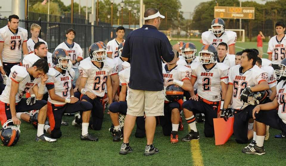 Great Neck North head coach Chris Ceasar speaks
