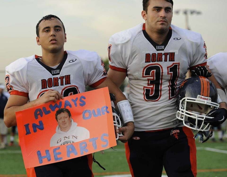 Great Neck North captains Brian Kahen, left, and