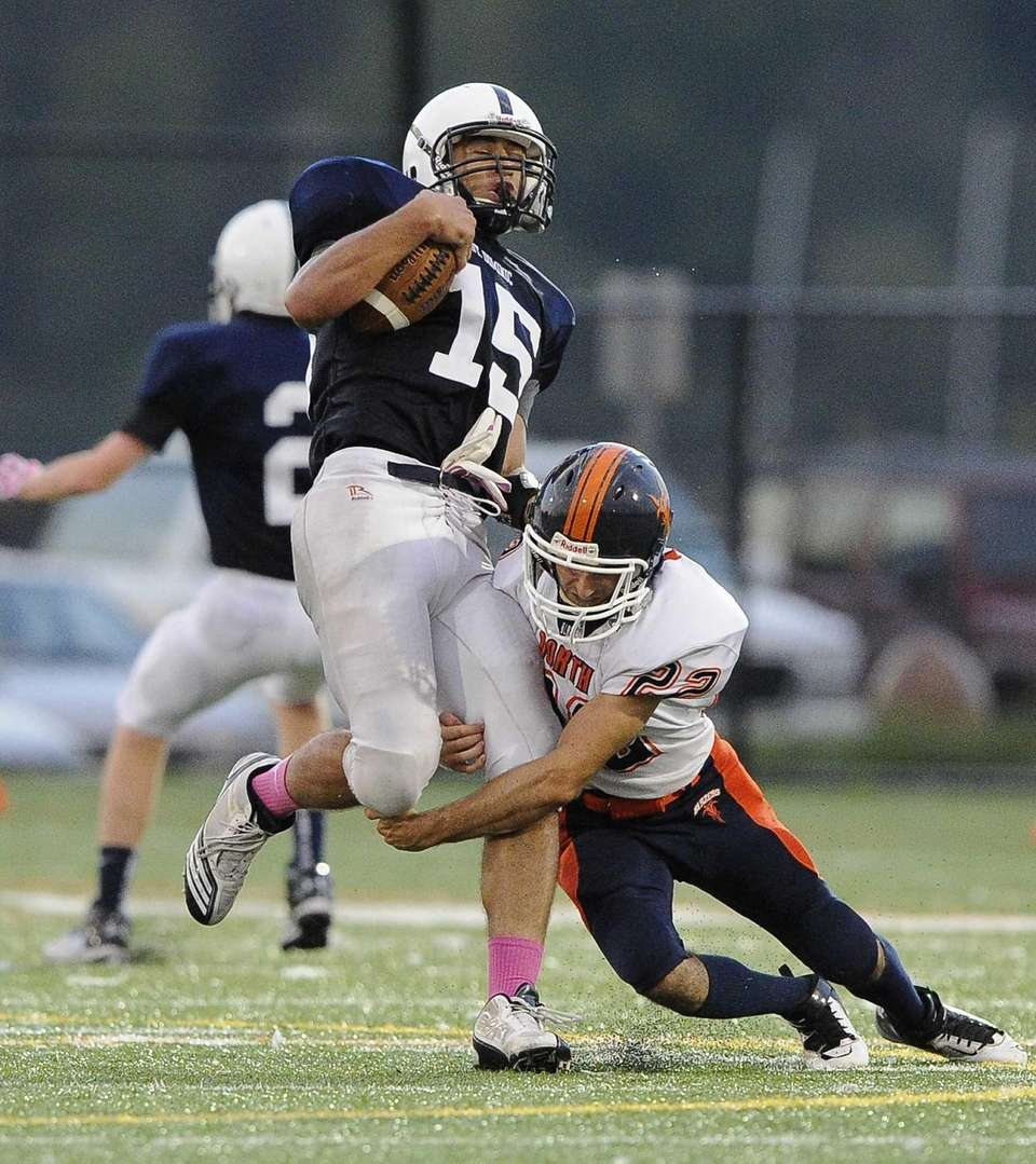Great Neck North's Jacob Sachmechi sacks St. Dominic