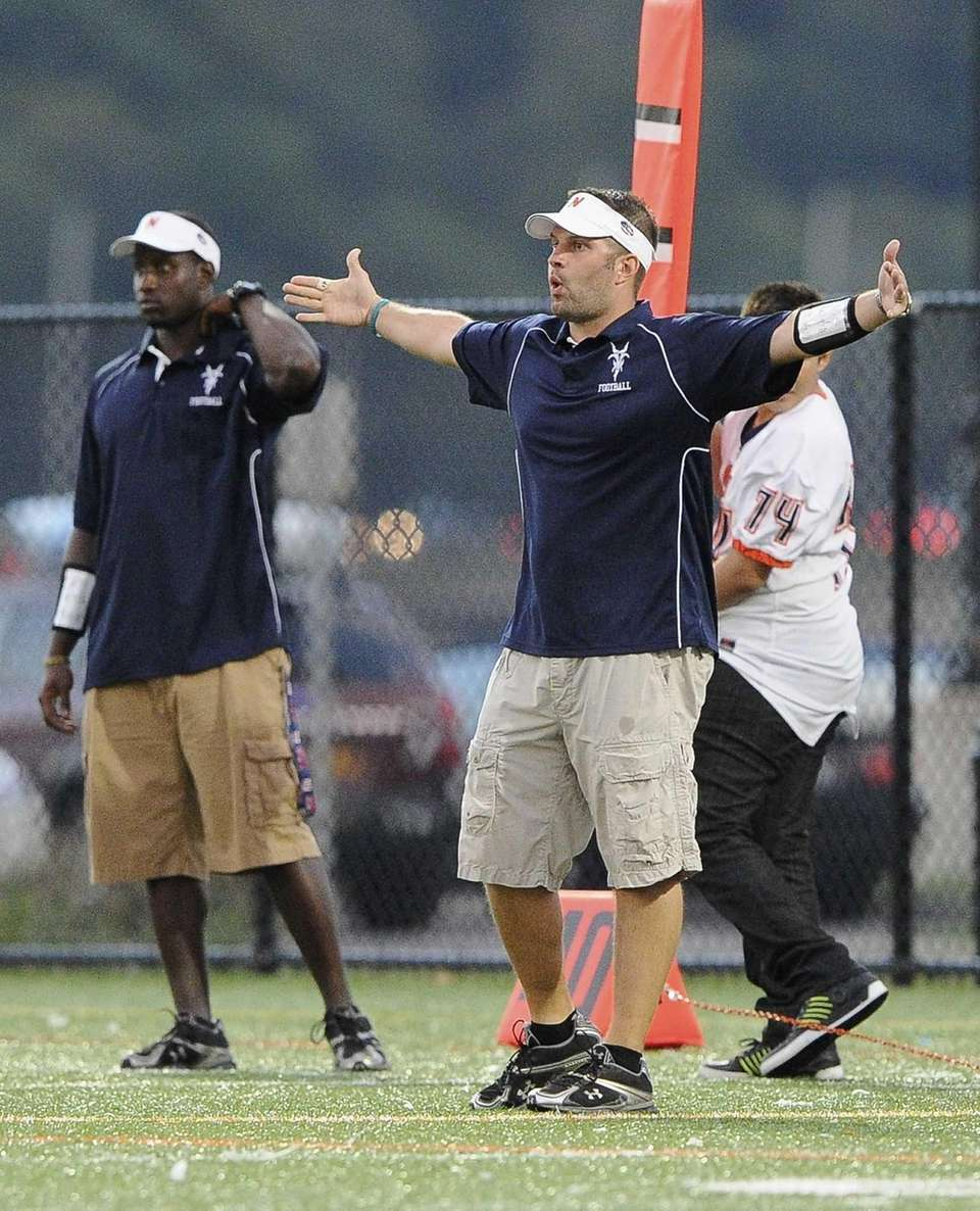 Great Neck North head coach Chris Ceasar reacts