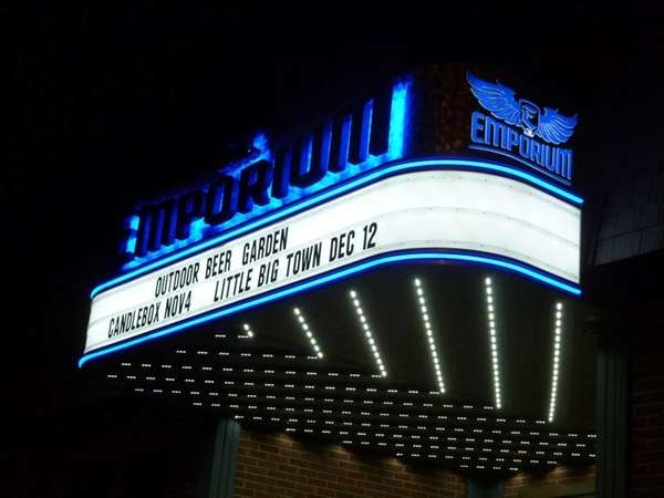 The marquee of The Emporium in Patchogue. Its