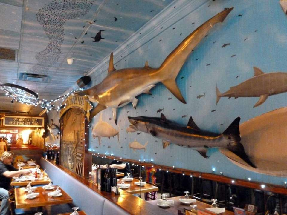 The nautical decor of Whale's Tail Chowder House