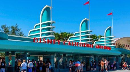 Turnstiles at the entrance to Disney California Adventure,