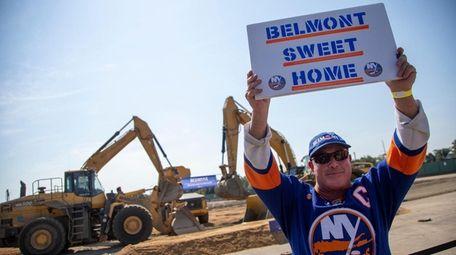 Patrick Dowd of Bay Shore celebrates the groundbreaking