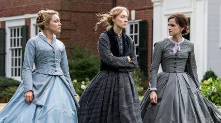 Florence Pugh, left, Saoirse Ronan and Emma Watson