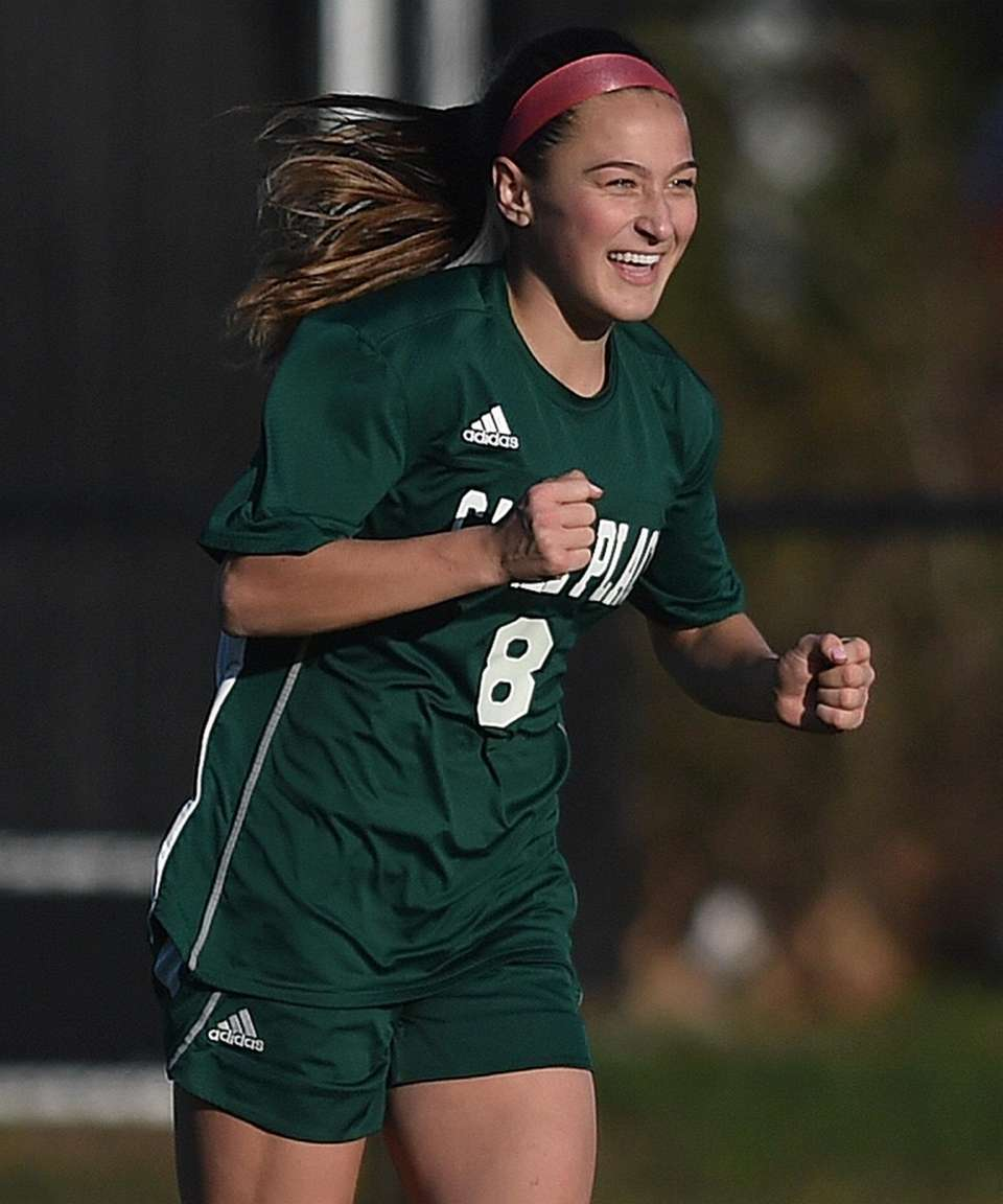 Leah Iglesias #8 of Carle Place reacts after