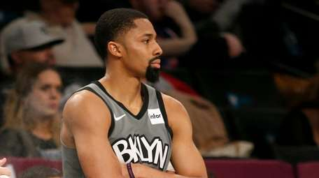 Spencer Dinwiddie #8 of the Nets looks on
