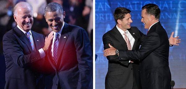 Barack Obama and Joe Biden and Mitt Romney