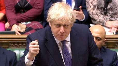 British Prime Minister Boris Johnson addressing MPs at