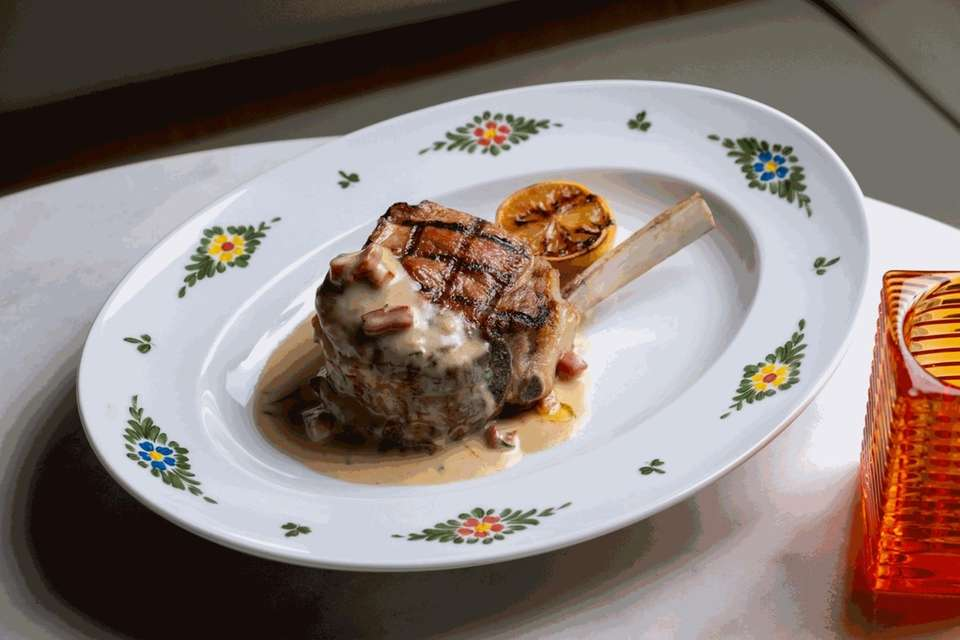 The 16-ounce veal chop at Osteria Morini in