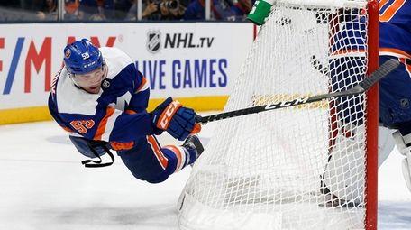 Johnny Boychuk of the New York Islanders clears