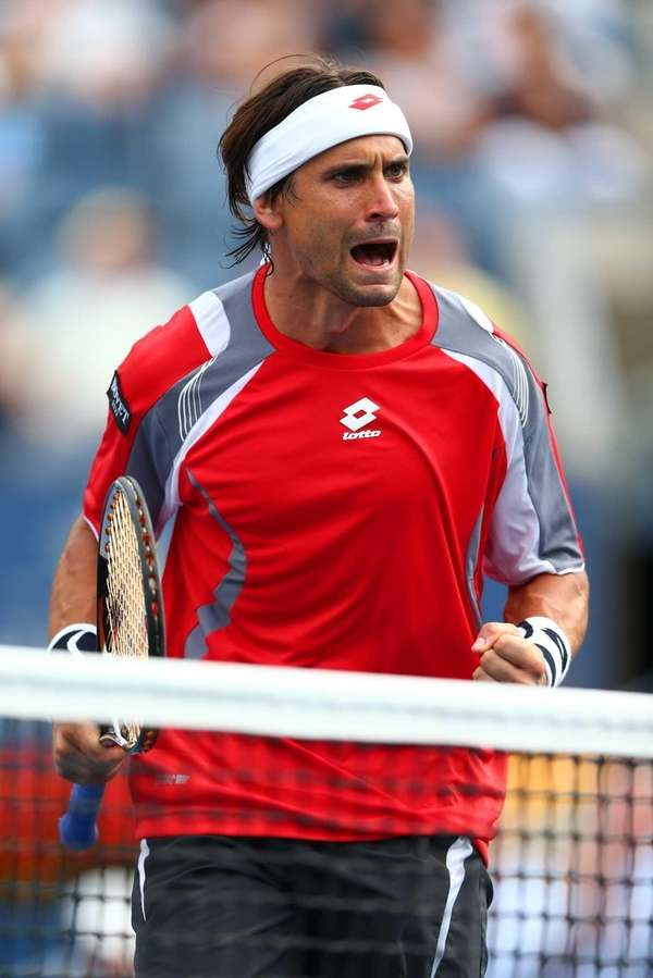 David Ferrer of Spain celebrates a point against