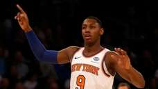 RJ Barrett of the Knicks reacts in the