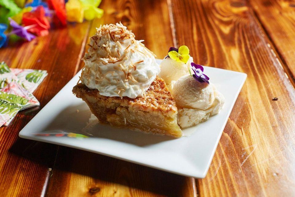 Macadamia nut pie, a heavenly dessert served with