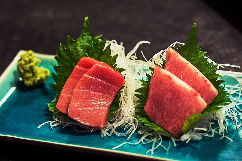 A sashimi platter of Chu Toro, left, and