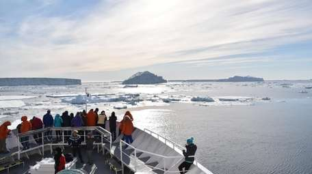 The 148-passenger Lindblad Expeditions ship visited the island