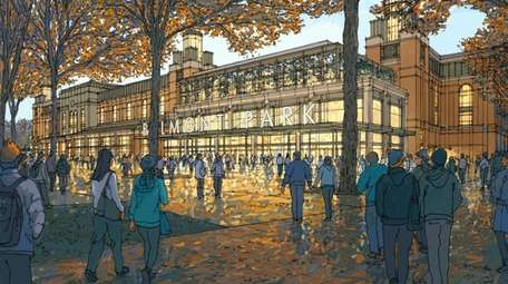 A rendering of the Islanders' Belmont Park arena.