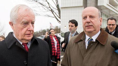 Thomas Spota, left, and Christopher McPartland leave federal
