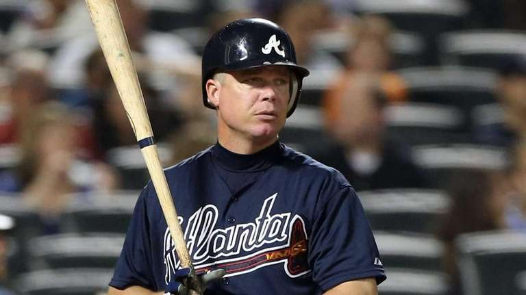 Chipper Jones bats during the fifth inning in