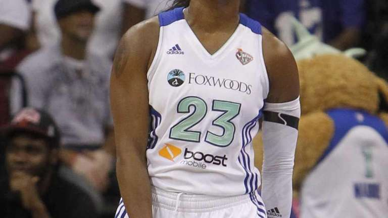 Cappie Pondexter reacts after a teammate was called