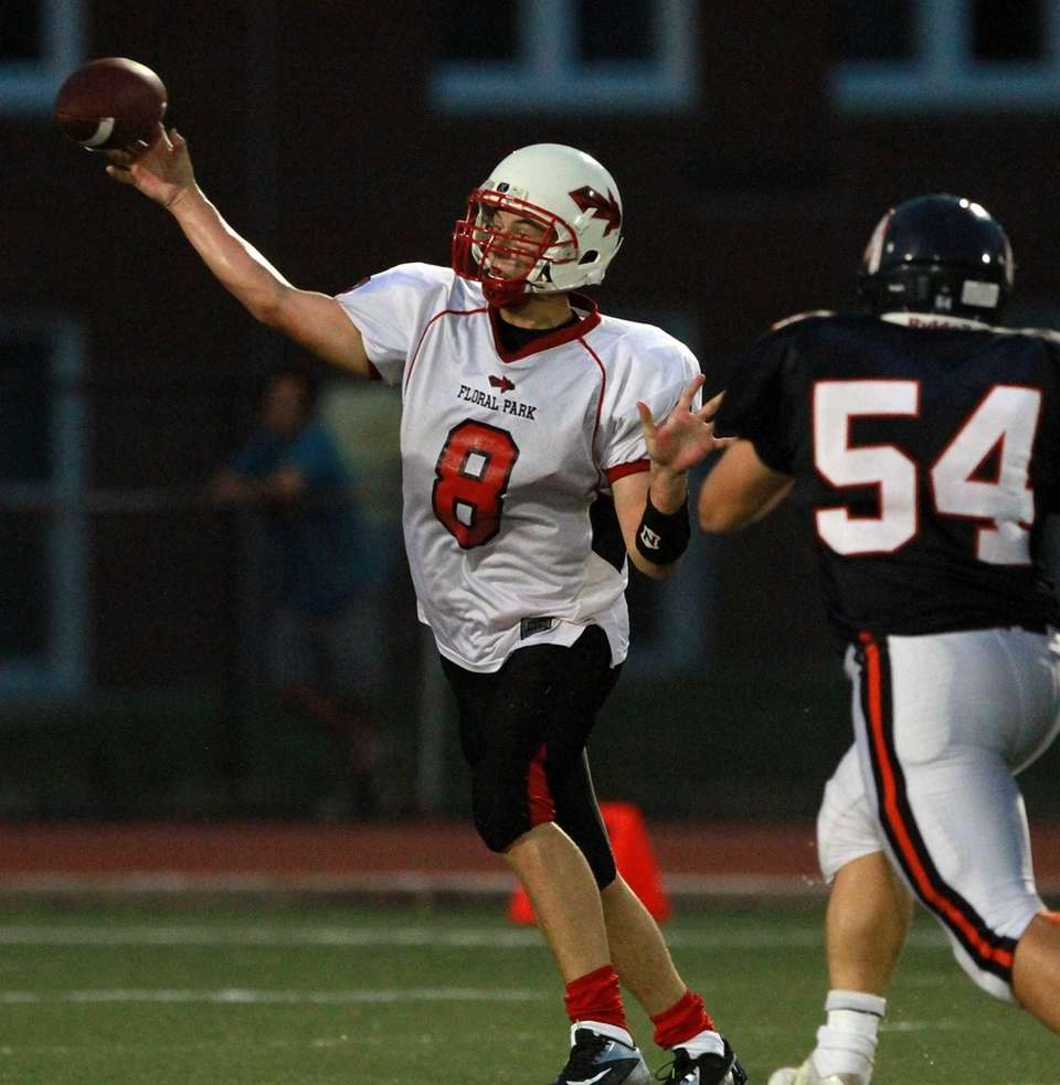 Floral Park's quarterback Connor Vidasolo gets the pass