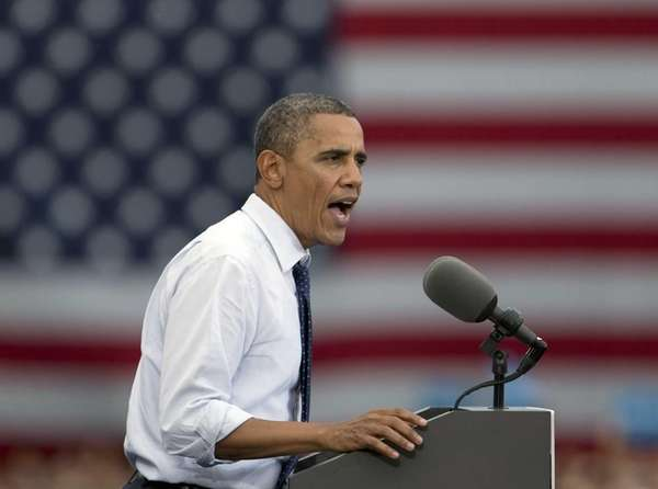 President Barack Obama speaks at a campaign event