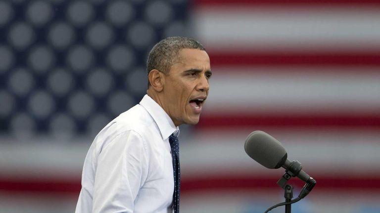 President Barack Obama speaks at a campaign event