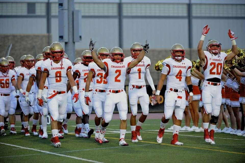 Bergen Catholic's football team takes the field against