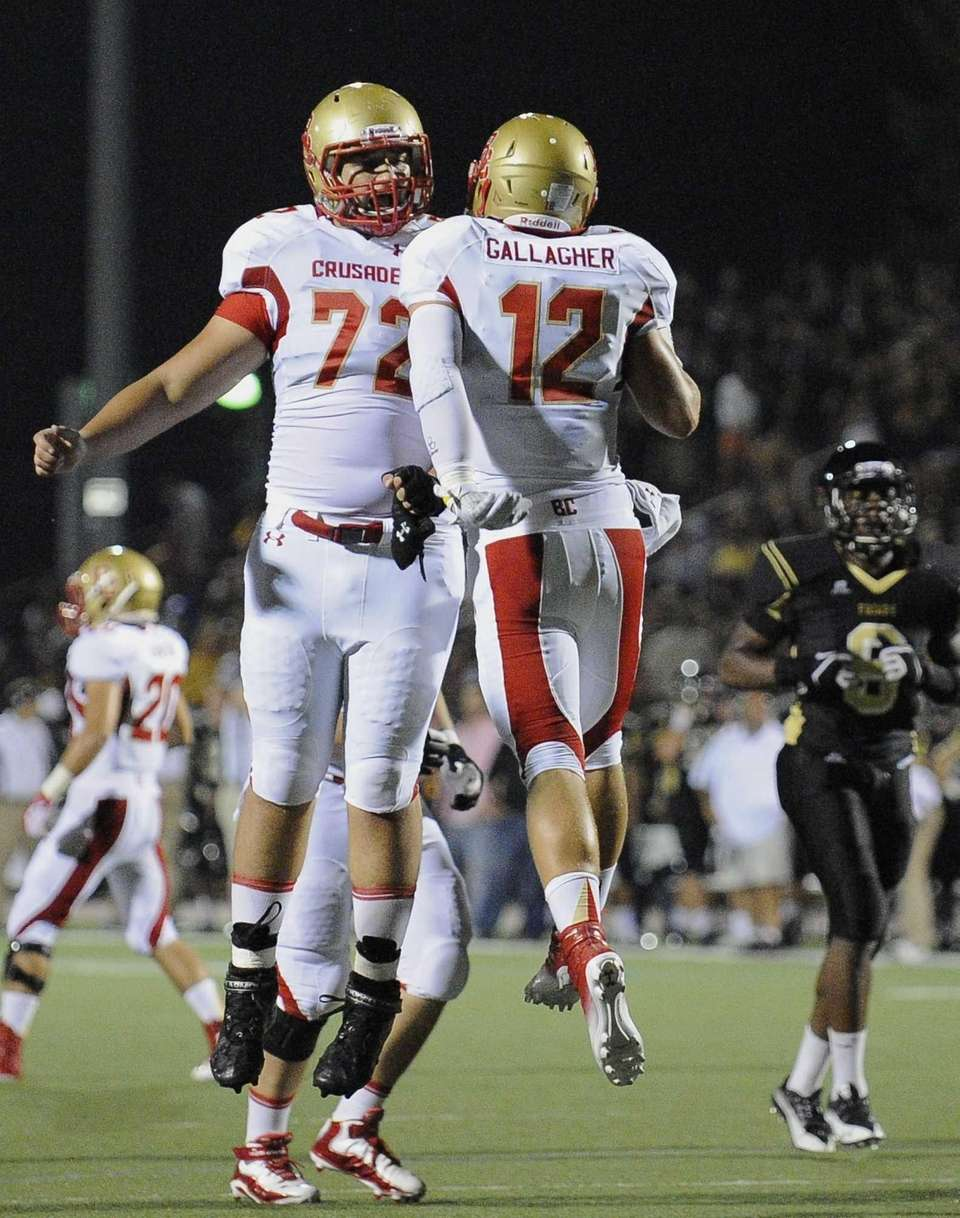 Bergen Catholic's AJ Gallagher celebrates his touchdown in