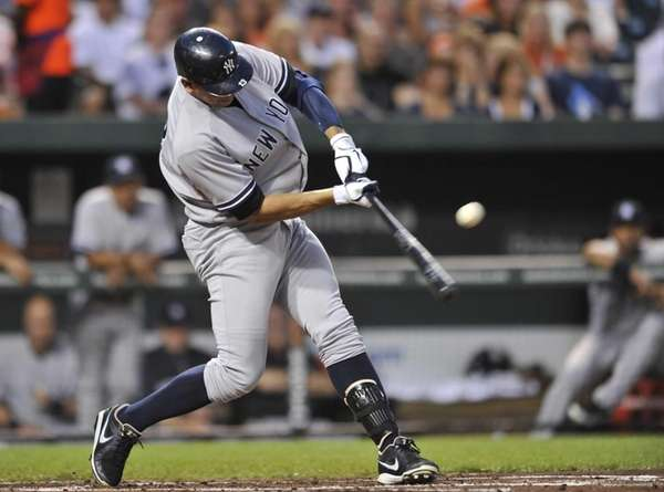 New York Yankees' Alex Rodriguez connects for a