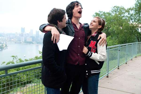 Logan Lerman (from left), Ezra Miller and Emma