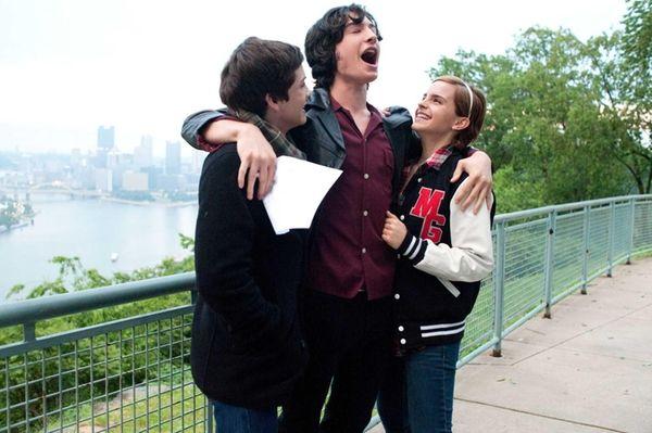 Logan Lerman (from left), Ezra Miller and Emma