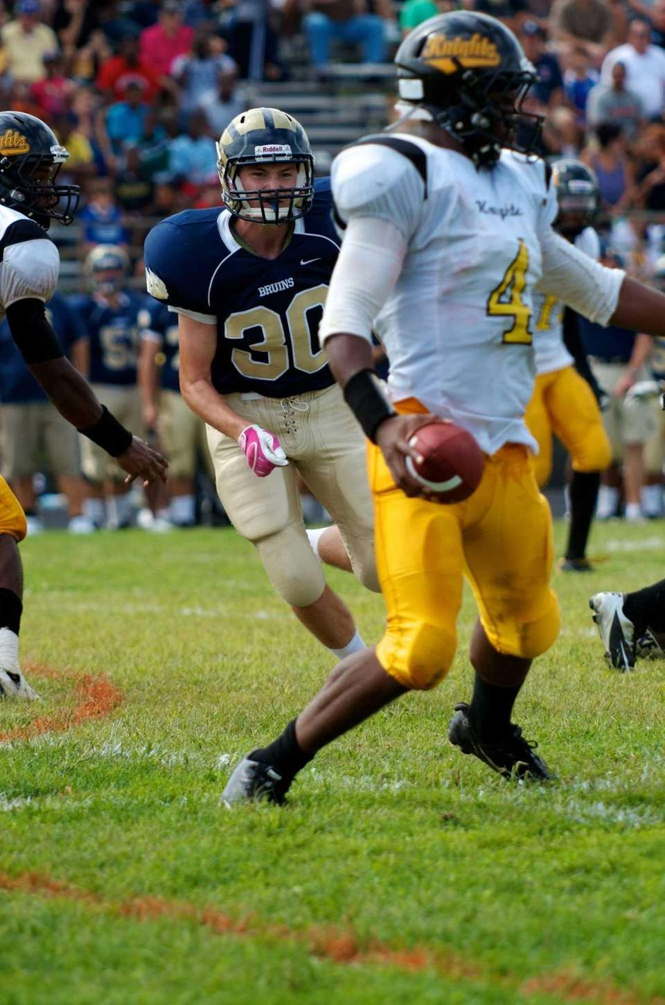 Baldwin defensive back Joseph Guilfoyle runs at Uniondale