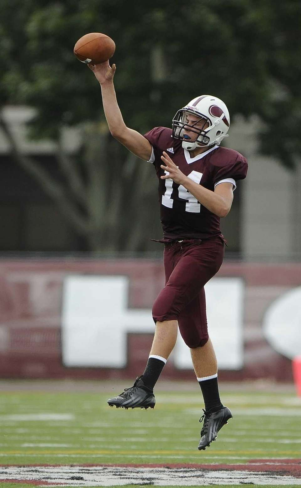 Bay Shore quarterback Jake Sheets passes the ball
