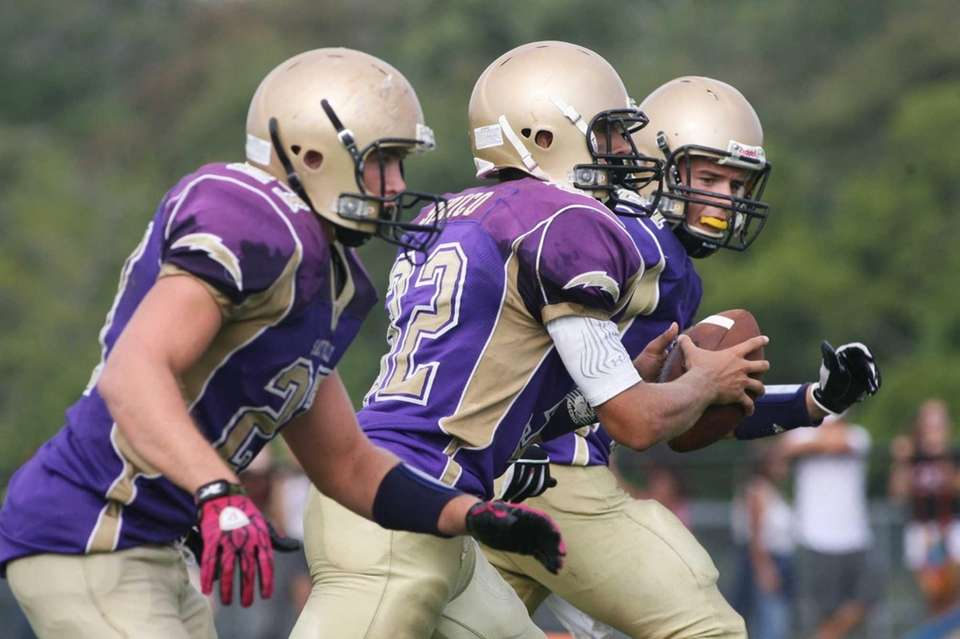 QB Zachary Sirico, (center), John Haggart (left) and