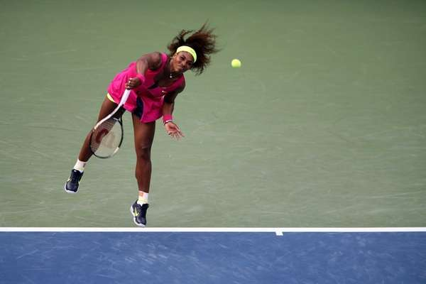 Serena Williams of the United States serves during