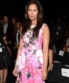 TV personality Padma Lakshmi wears a hot pink